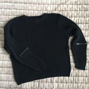 Free Press 100% Cotton Sweater Zipper Detail